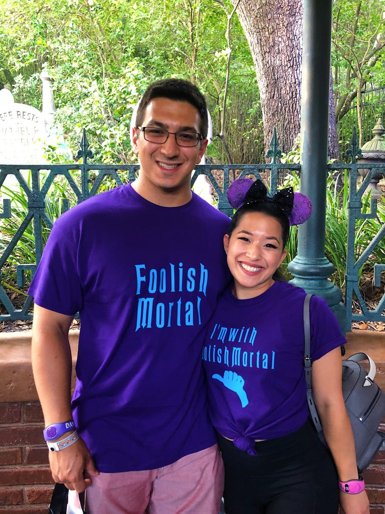 "Couple wearing matching ""Foolish Mortal"" shirts."