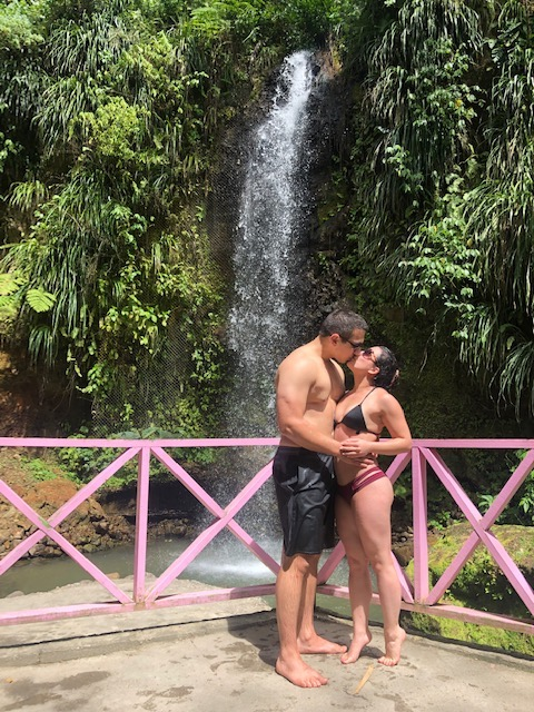 Couple at Torraille Waterfall St. Lucia