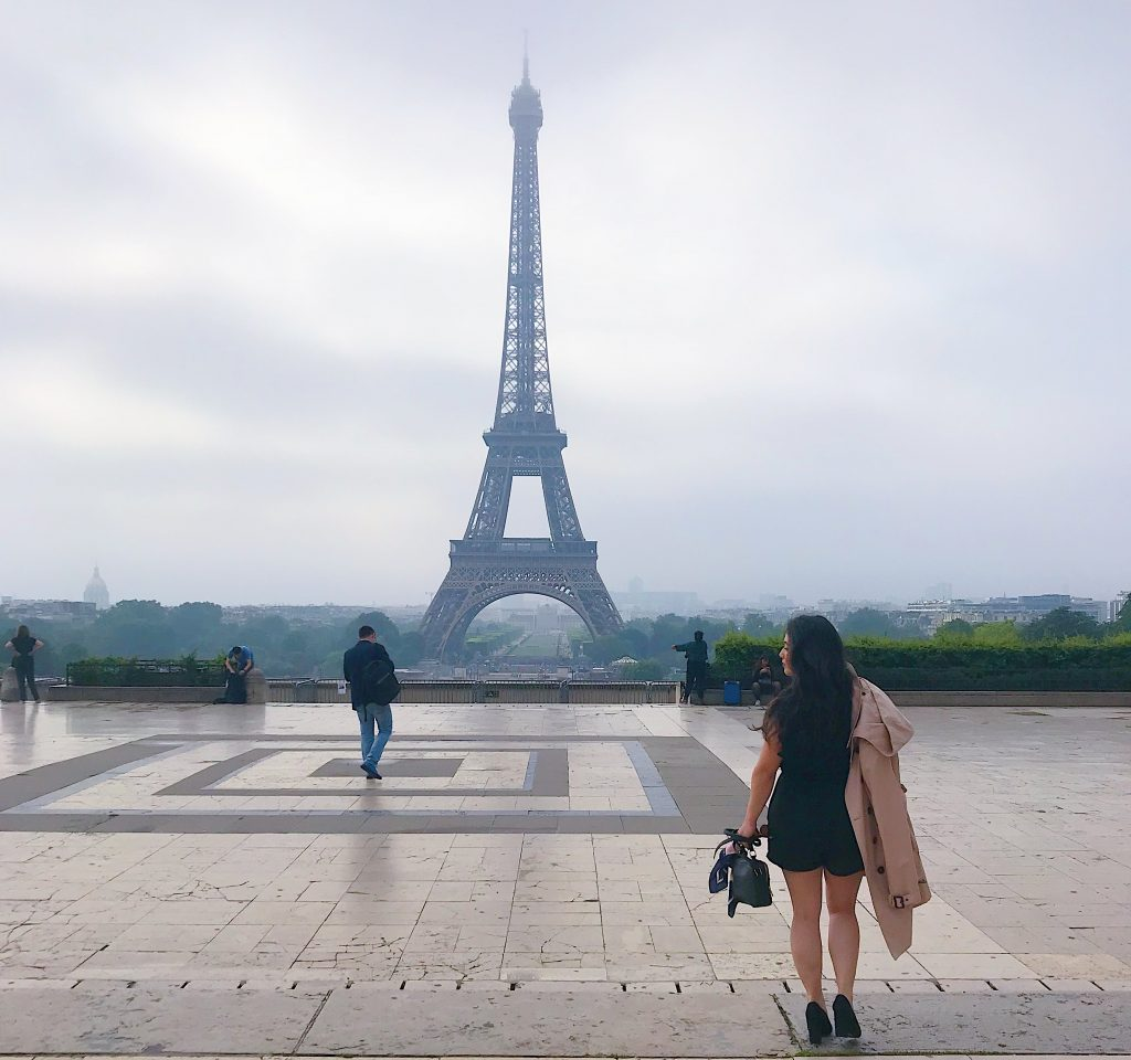 Woman walking toward Eiffel Tower - Paris Vacation