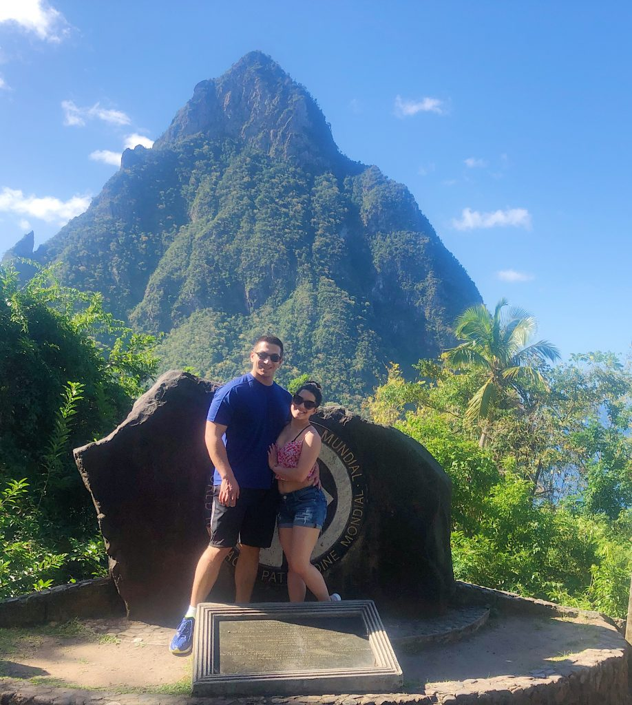 Couple in front of St. Lucia Pitons