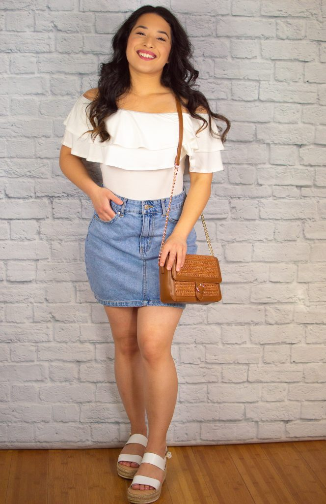 off-the-shoulder ruffle top denim skirt 2