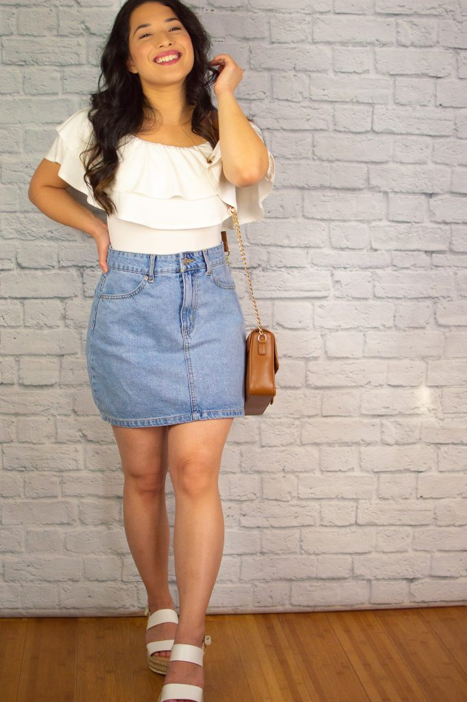 off-the-shoulder Ruffle Top Denim skirt
