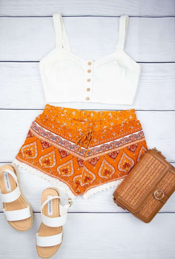 Petite Outfit - White crop top and printed orange shorts