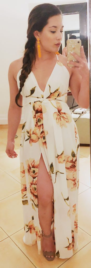 Zaful Long Floral Dress - vacation style