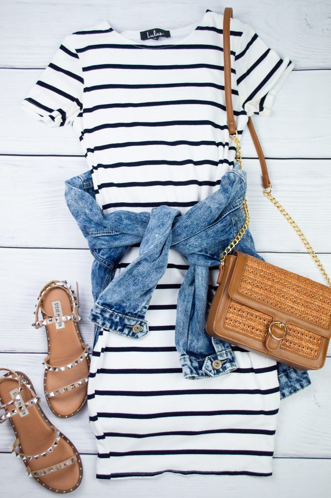 Petite Outfit - Striped dress and strappy sandals