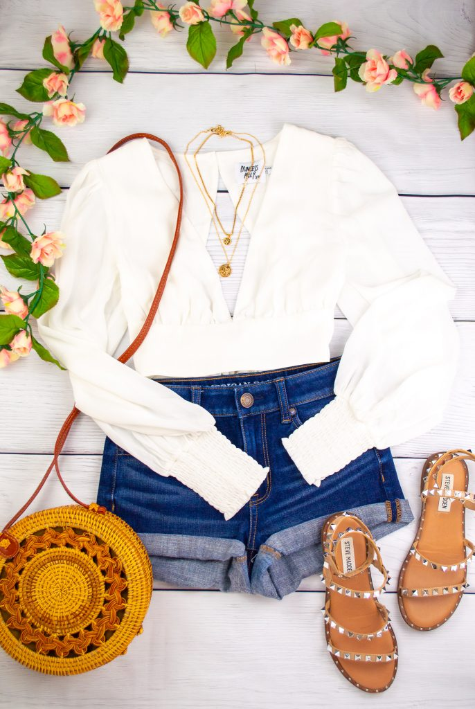 Petite Outfit - White flowy top and shorts